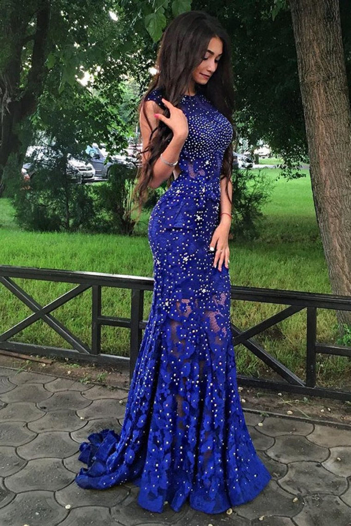 2019 Sexy Open Back Scoop Lace With Beading Mermaid Prom Dresses