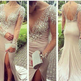 Beading Mermaid Sexy Real Made Prom Dresses Long Evening Dresses Prom Dresses On Sale L08