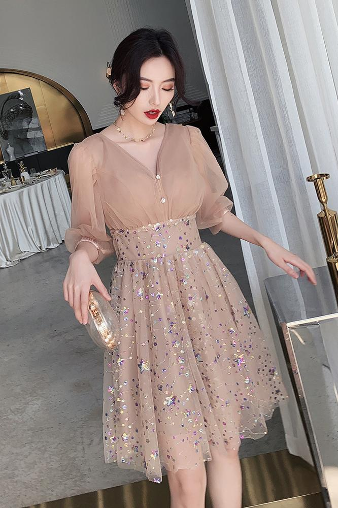 3/4 Sleeve V Neck Pink Knee Length Tulle Homecoming Dresses Short Prom Dresses H1131