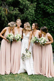 Simple V Neck Bridesmaid Dresses Cheap Sweep Train Chiffon