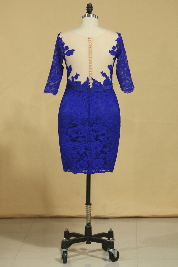 2019 Plus Size Scoop Sheath Half Sleeve With Sash Dark Royal Blue Lace Mother Of The Bride Dresses