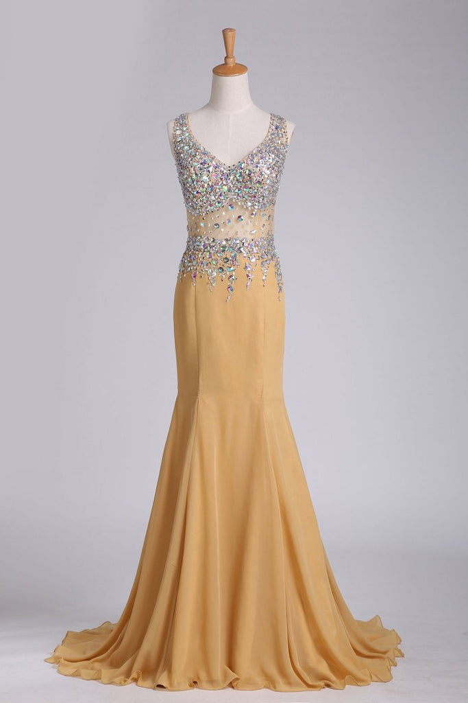 2019 New Arrival Chiffon Prom Dresses Straps With Beading Sweep Train Mermaid