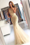 2019 Prom Dresses Scoop Beaded Bodice Tulle Sweep Train Mermaid