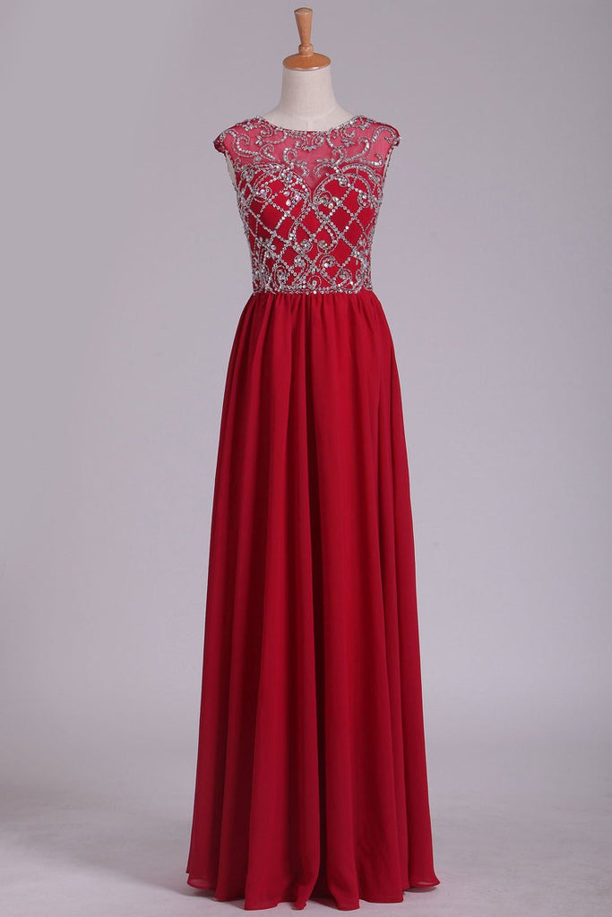 2019 Open Back Scoop Beaded Bodice A Line Chiffon Prom Dresses