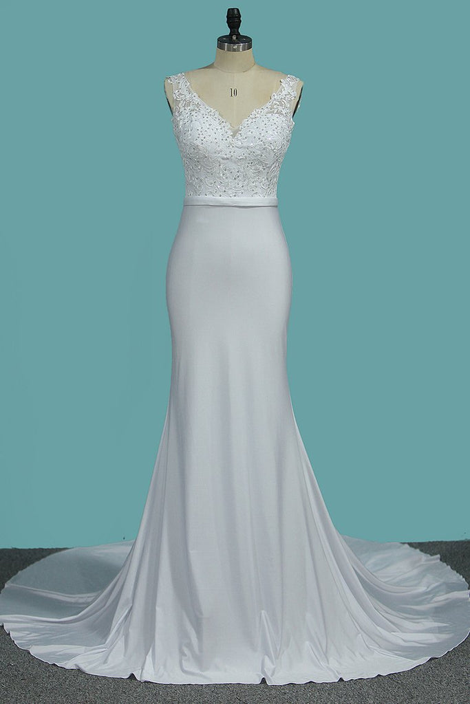 2019 V Neck Open Back Spandex Wedding Dresses With Applique Mermaid