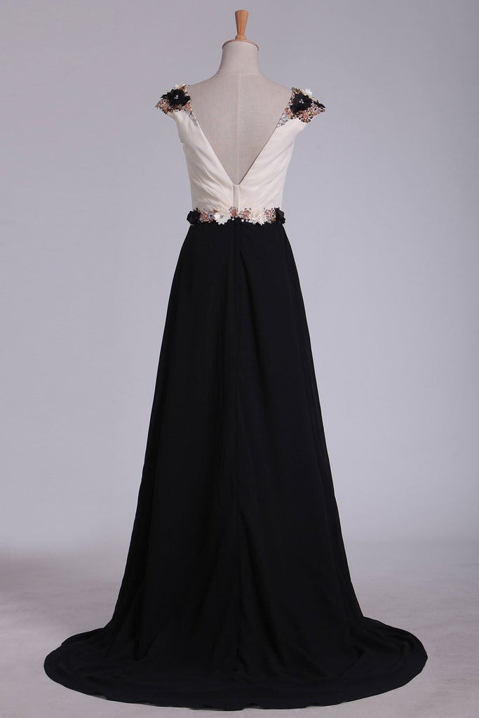 Chiffon Prom Dresses Bateau Open Back With Beading Sweep Train