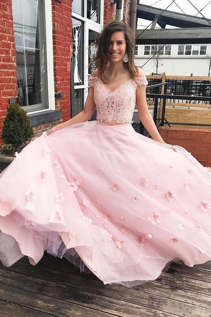 3D Floral Junior Off the Shoulder Prom Dresses Lace Two Piece Pink Lace Prom Gowns P1116