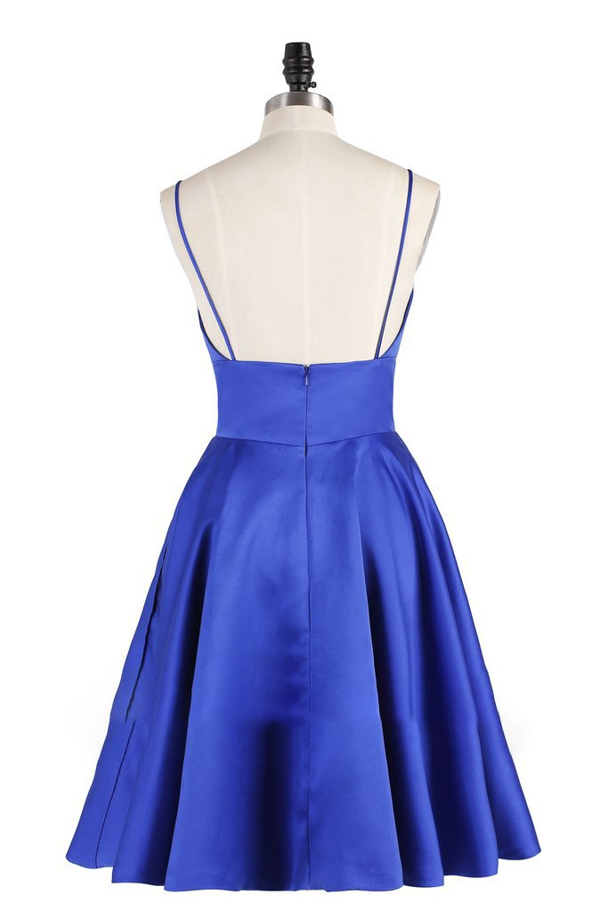 A Line Spaghetti Straps Royal Blue V Neck Backless Satin Knee Length Homecoming Dresses WK838
