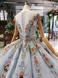 Ball Gown Blue Cap Sleeve Long Prom Dresses Lace up Beads Quinceanera Dresses P1088