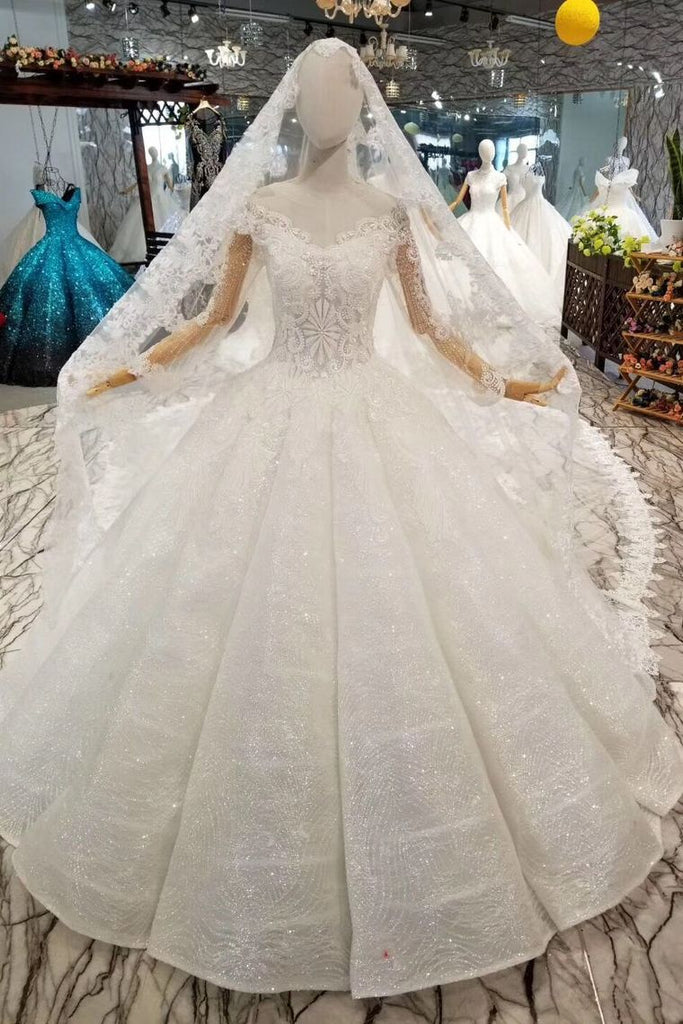 Ball Gown Wedding Dresses With Veil  V-Neck Long Sleeves