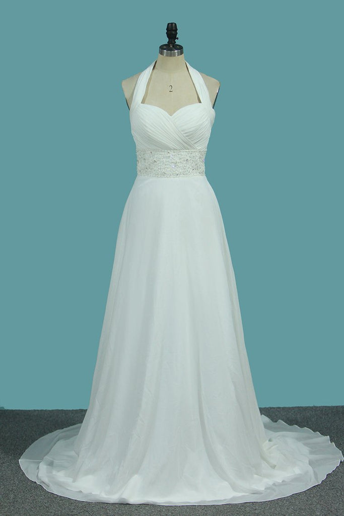 2020 A Line Chiffon Wedding Dresses With Beading & Sequince Court Train