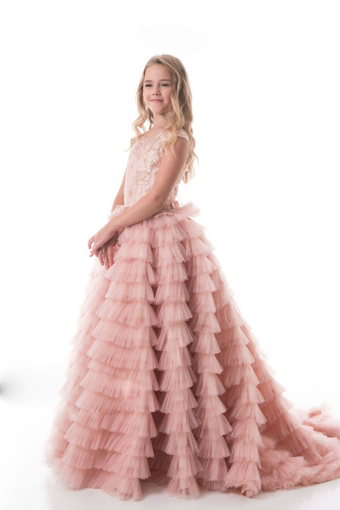 Tulle Scoop With Beads Flower Girl Dresses A Line Sweep Train