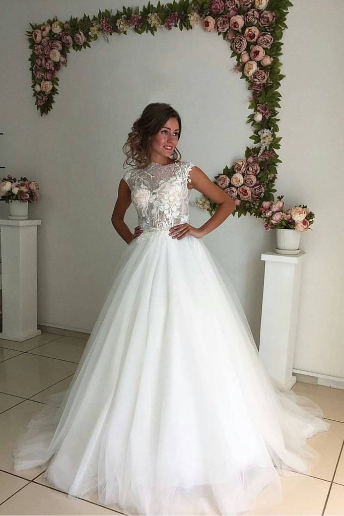 Bateau A Line Wedding Dresses Tulle With Applique Sweep Train