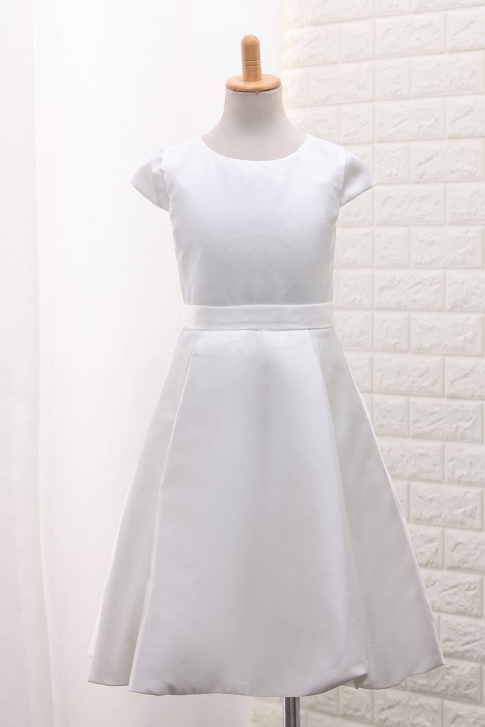 2019 New Arrival Satin A Line Scoop Flower Girl Dresses With Handmade Flowers