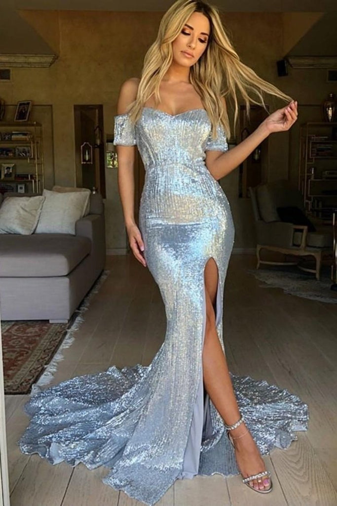 Silver Sequin Shiny Off The Shoulder Mermaid Long Open Back Prom Dresses