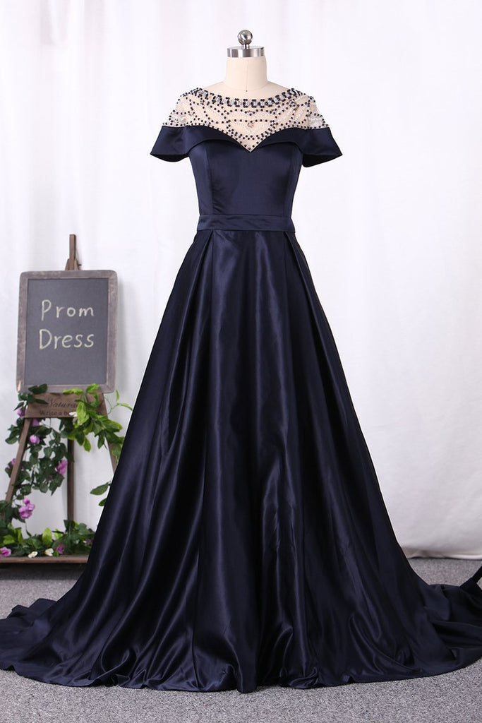 2019 A Line Prom Dresses Scoop Short Sleeves Satin With Beading