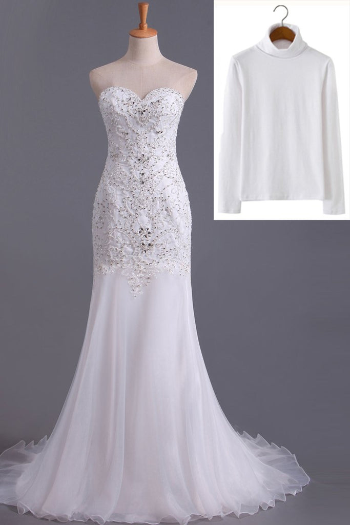 2019 Sweetheart Beaded Bodice Sheath/Column Wedding Dress With Organza Skirt