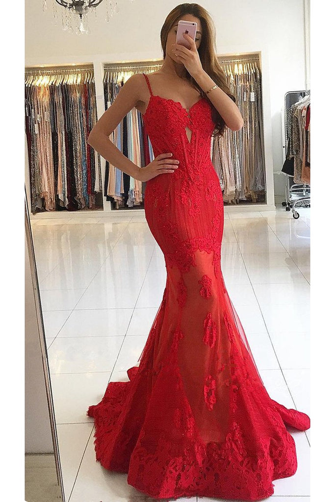 2019 Mermaid Spaghetti Straps Tulle With Applique Sweep Train Prom Dresses