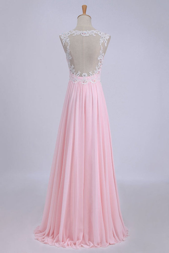 2019 V-Neck A-Line/Princess Prom Dress Tulle&Chiffon With Beads And Applique