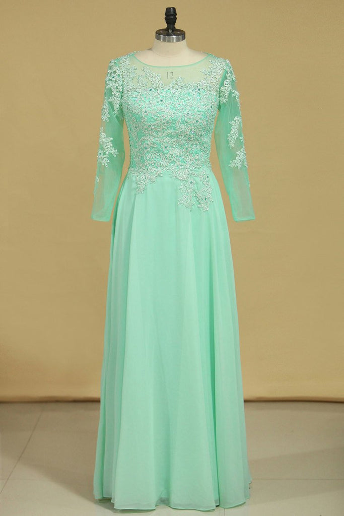 2019 Prom Dresses Bateau A Line Chiffon Floor Length With Beading