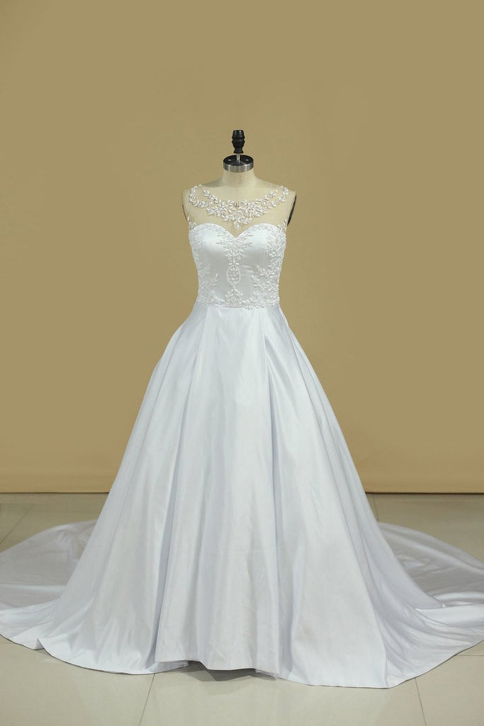 2019 A Line Scoop Wedding Dresses Satin With Beading Chaple Train