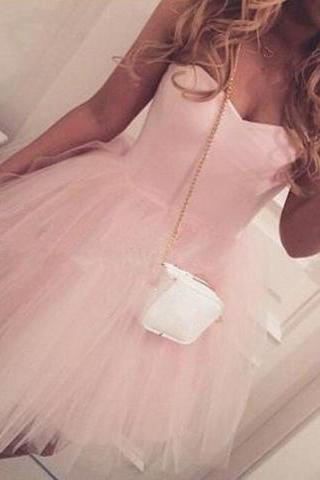 Adorable A-line Sweetheart Short Pink Tulle Homecoming Dress/Party Dress WK474