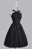 Vintage A-line Straps Knee-Length Chiffon Sash Backless Black Party Homecoming Dresses WK448