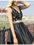 Black Lace Deep V-neck Backless Beading Short Homecoming Cocktail Dress WK672