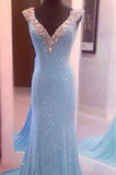 Largos Pretty V-Neck Sleeveless Sequins Mermaid Backless Floor-Length Long Prom Dresses WK760
