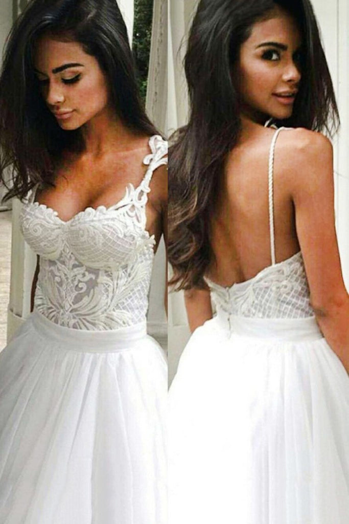 2019 Wedding Dresses Spaghetti Straps Tulle With Applique A Line Open Back