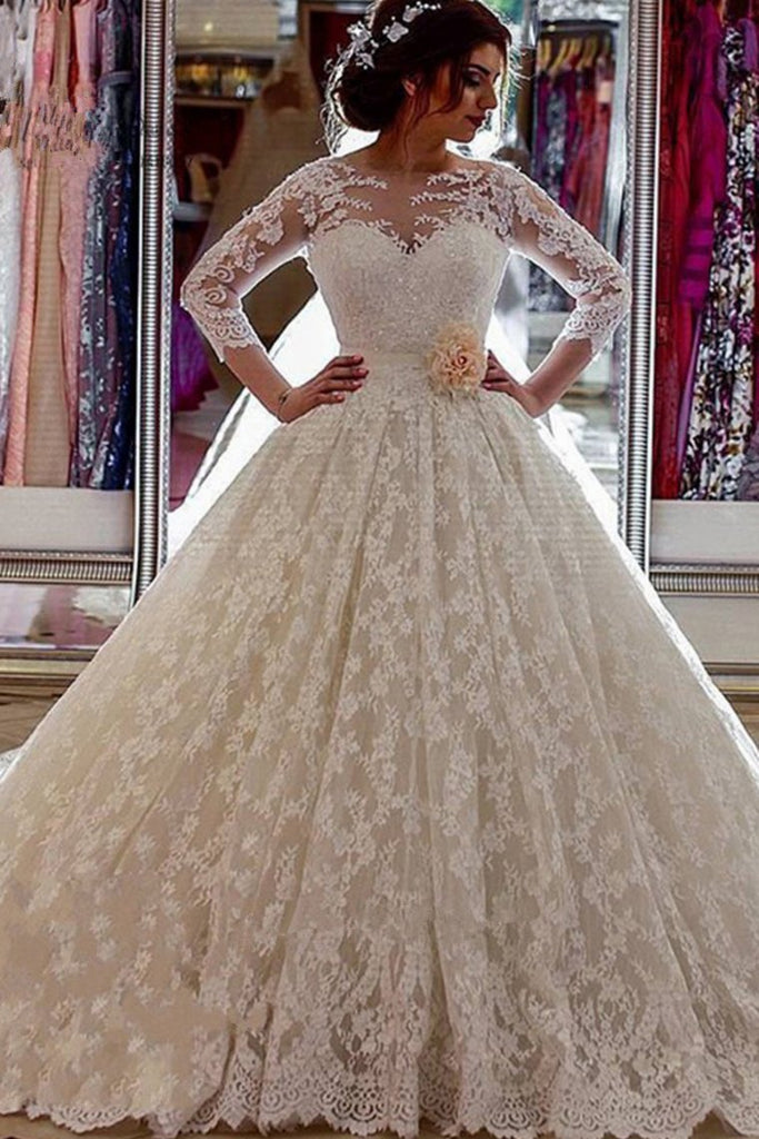 Ball Gown Scoop 3/4 Length Sleeves Wedding Dresses Lace With Applique