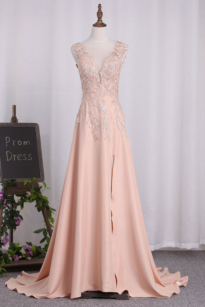 2020 A Line Elastic Satin Straps Prom Dresses With Slit Sweep Train