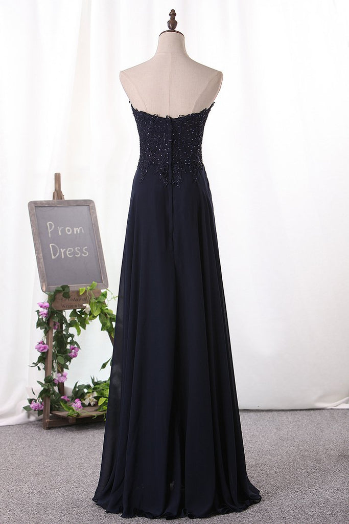 2019 A Line Prom Dresses Chiffon Sweetheart With Applique Floor Length