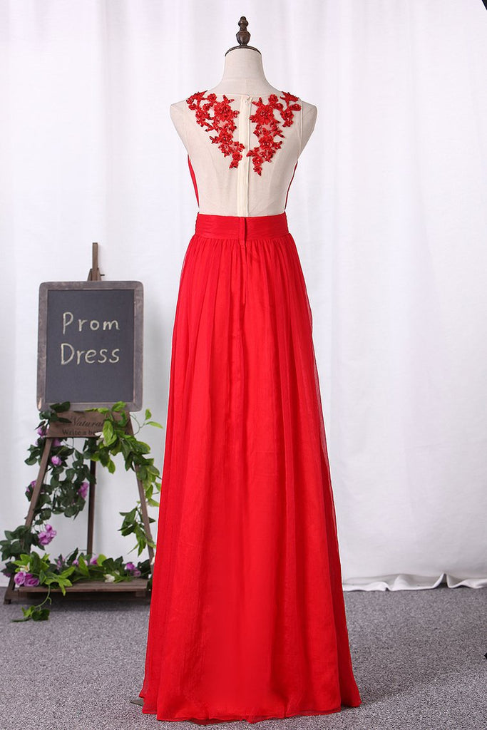 2019 A Line Prom Dresses Chiffon Scoop With Ruffles And Applique