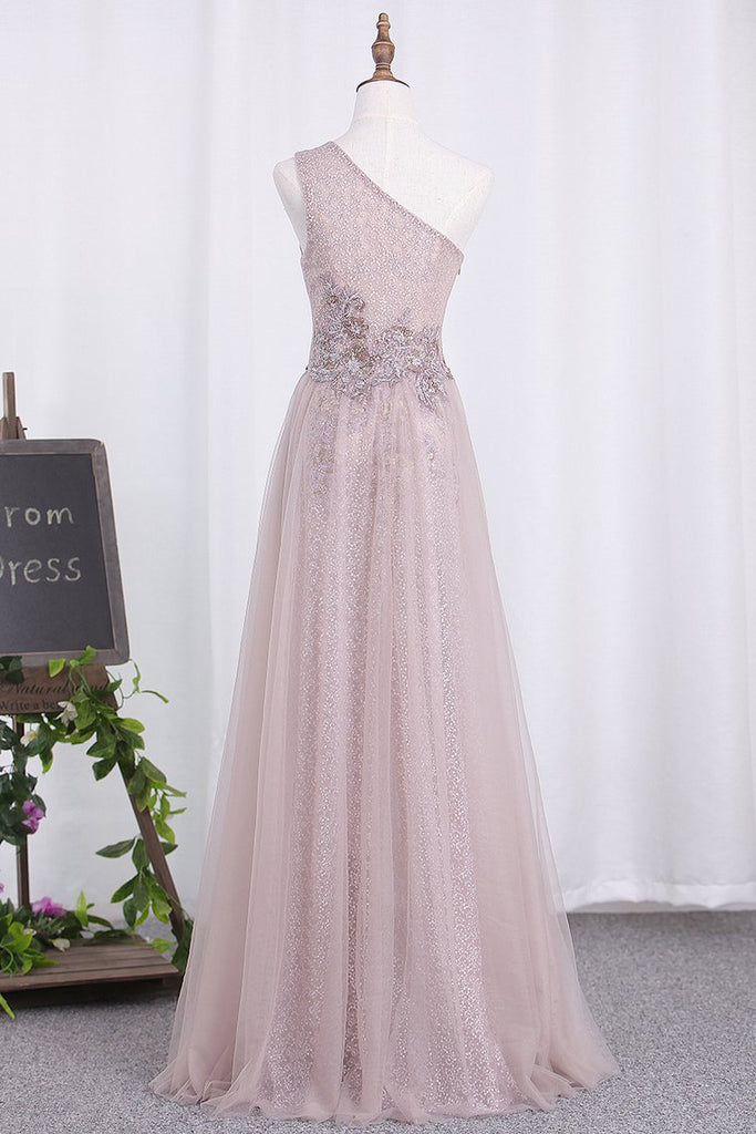 2019 One Shoulder Tulle & Sequin With Slit Prom Dresses
