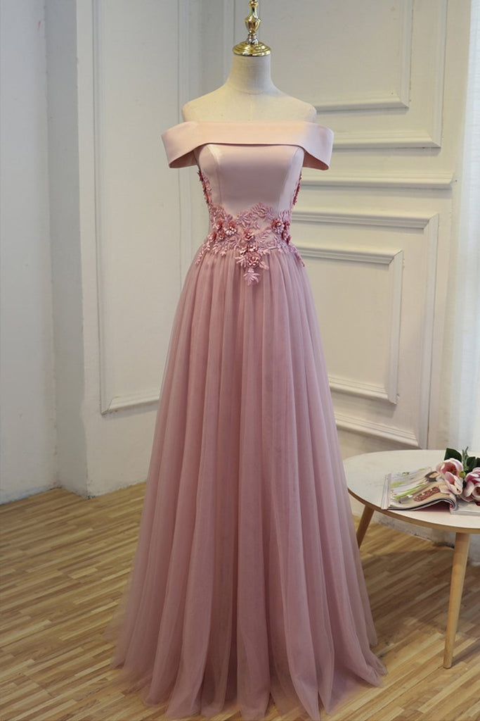 2020 Boat Neck Tulle With Applique Prom Dresses A Line Floor Length