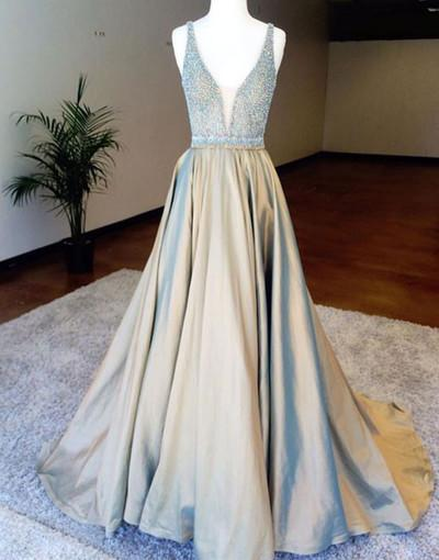 custom made satin v-neck sequin long prom gown Sleeveless A-Line evening dress Prom Dresses uk
