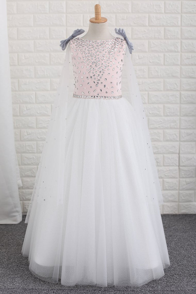 2020  Flower Girl Dresses Scoop With Beading A Line Floor Length