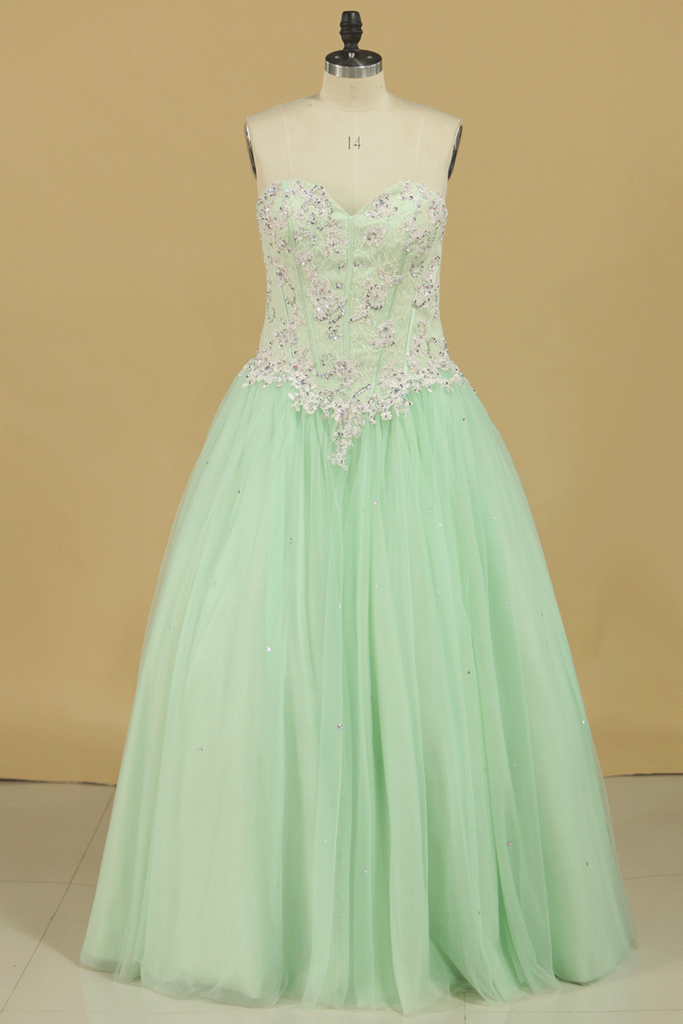Quinceanera Dresses Sweetheart Ball Gown Tulle With Applique Floor Length