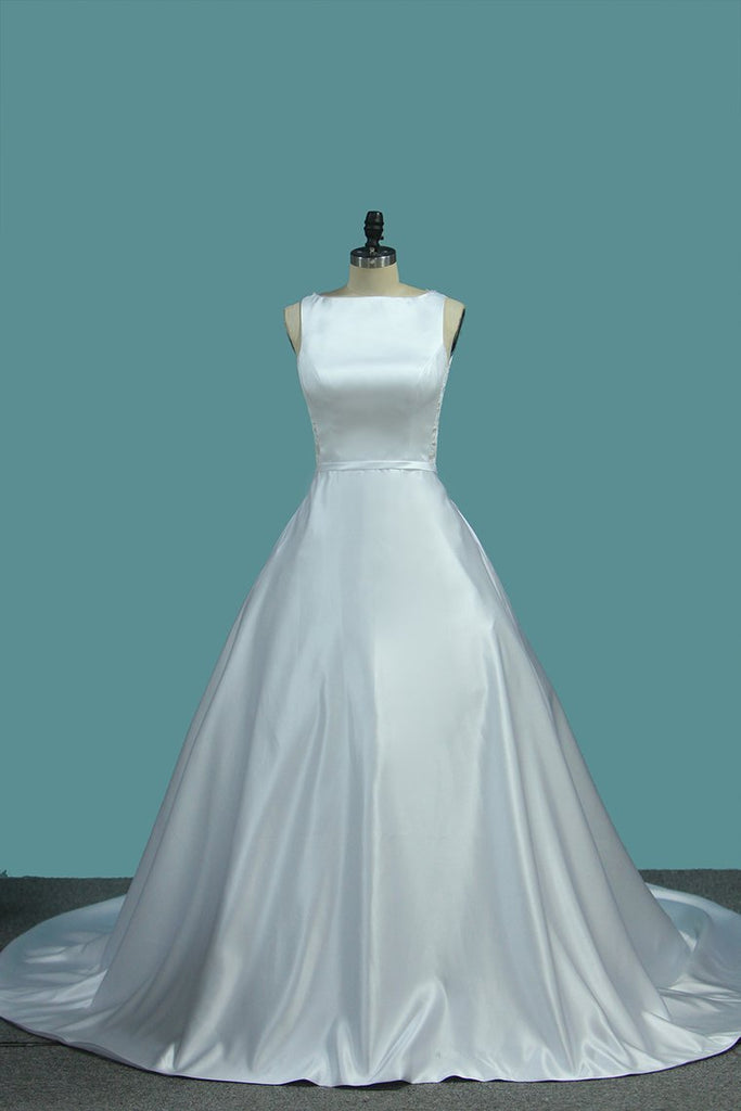 A Line Scoop Satin Wedding Dresses With Pocket Court Train
