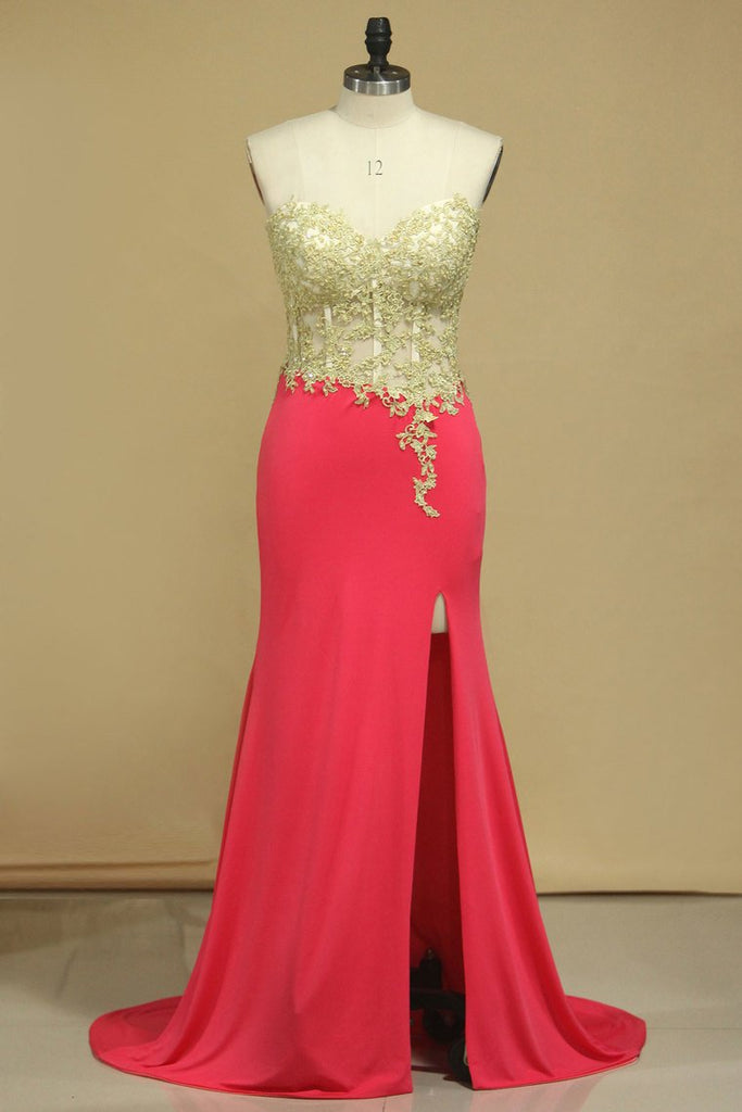 Spandex Prom Dresses Sweetheart With Applique And Slit