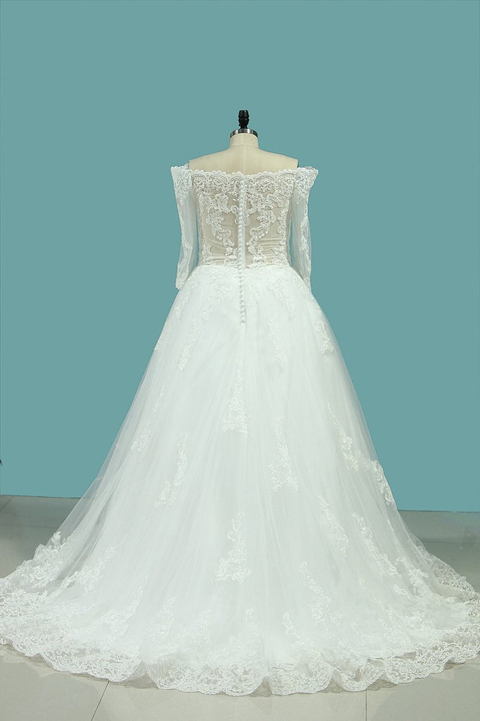 2020 A Line Boat Neck 3/4 Length Sleeves Wedding Dresses Tulle With Applique