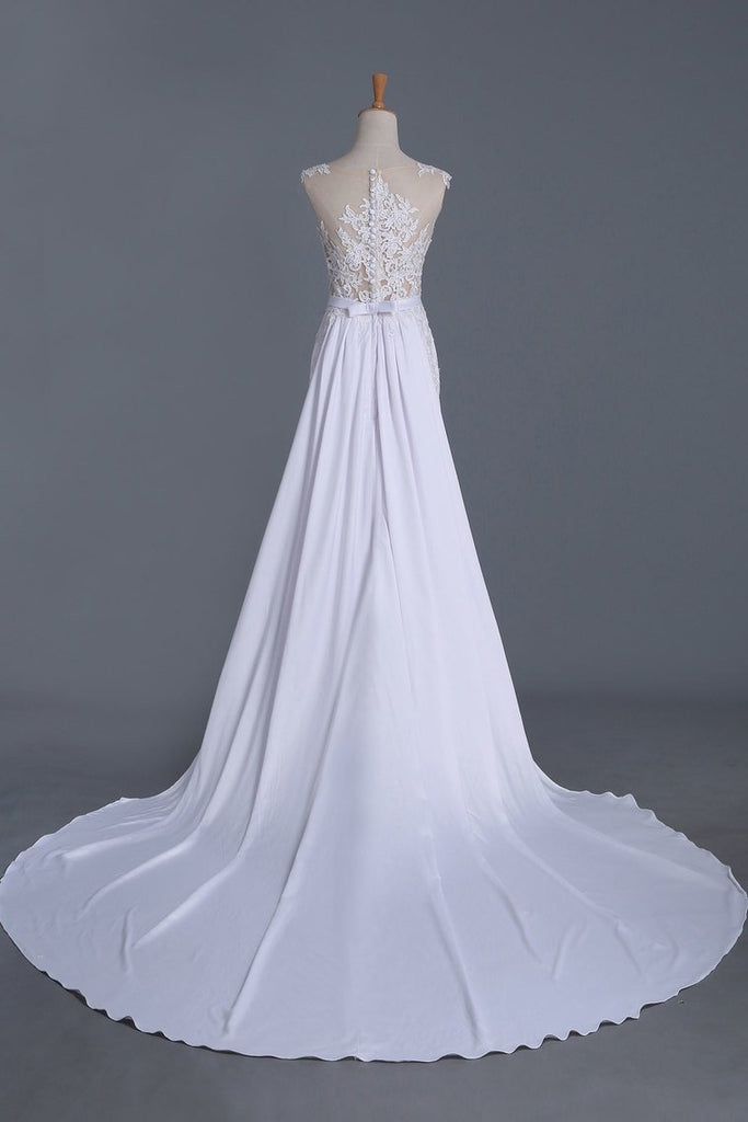 Sheath Wedding Dresses Scoop With Stretch Satin Skirt Detachable