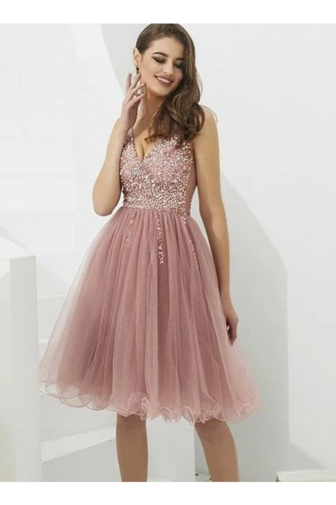 V-Neck Tulle With Beaded Short Homecoming Dresses
