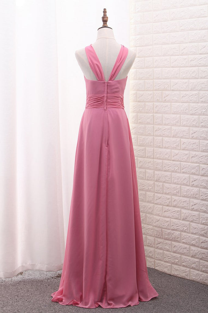 2019 Scoop A Line Chiffon Bridesmaid Dresses With Ruffles And Slit Floor Length