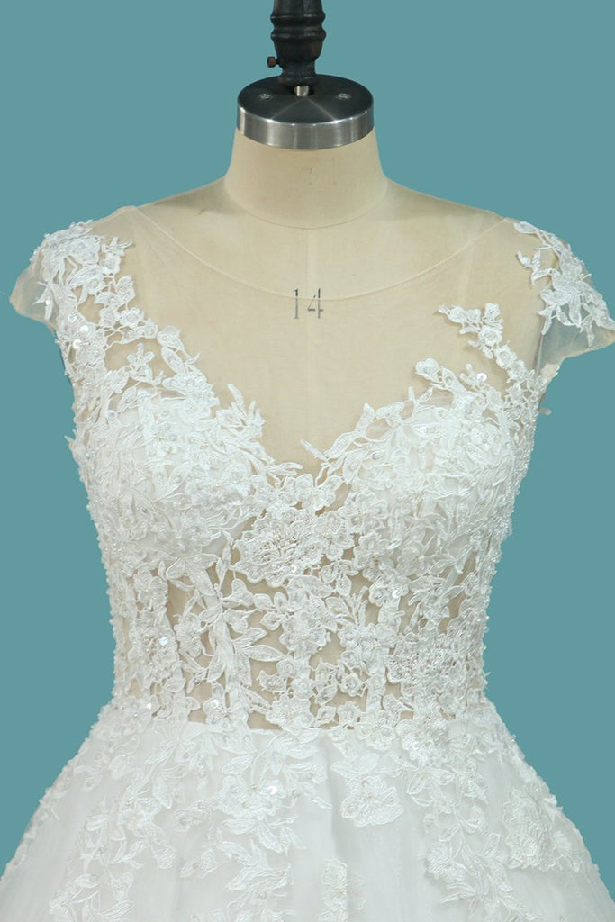 A Line Tulle Cap Sleeve Scoop Wedding Dresses With Applique Court Train