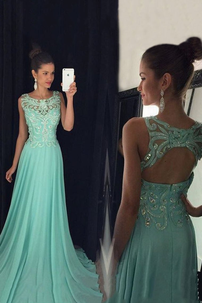 2019 Chiffon Scoop Prom Dresses A Line With Applique And Beads Open Back