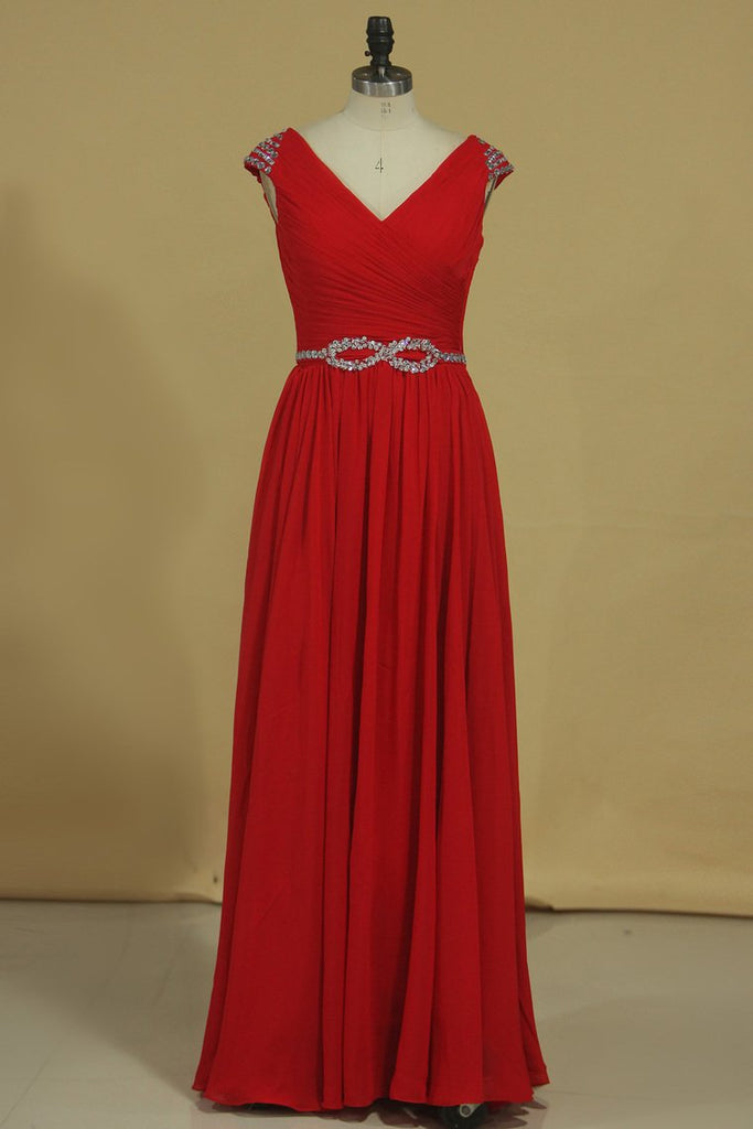 A Line V Neck Chiffon Prom Dresses With Beads And Ruffles Floor Length