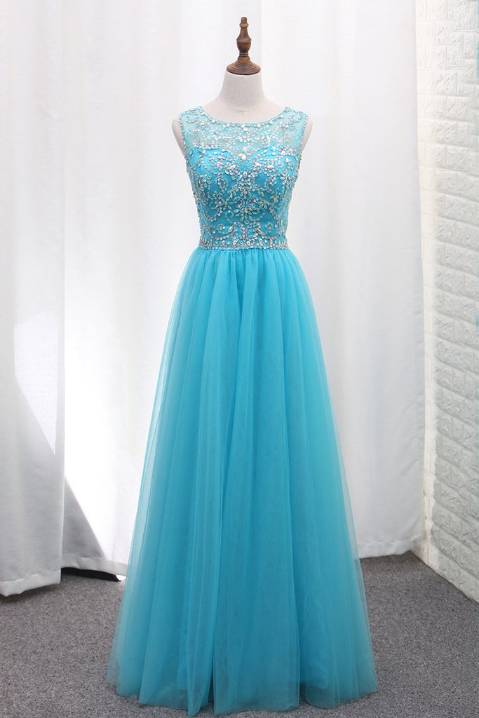 A Line Tulle Bateau Open Back Beaded Bodice Floor Length Prom Dresses
