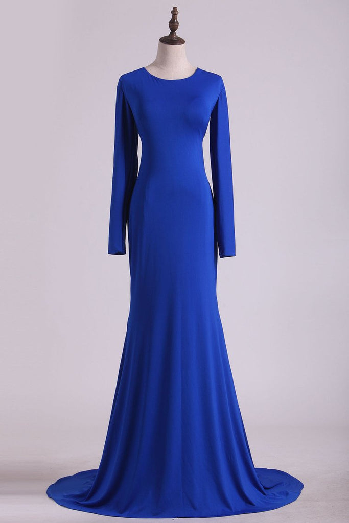 2019 Scoop Prom Dresses Long Sleeves Spandex Open Back Drak Royal Blue